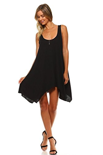 Simplicitie Women's Sleeveless Swing Flare Dress Tunic Tank Top – Regular and Plus Size – Black – Made in USA