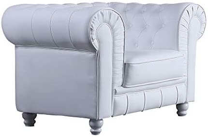SuenosZzz - Sofa clásico modelo CHESTER color Blanco. Sofa vintage (1 plaza), tapizado en piel sintetica de alta calidad, con botones en respaldo y ...