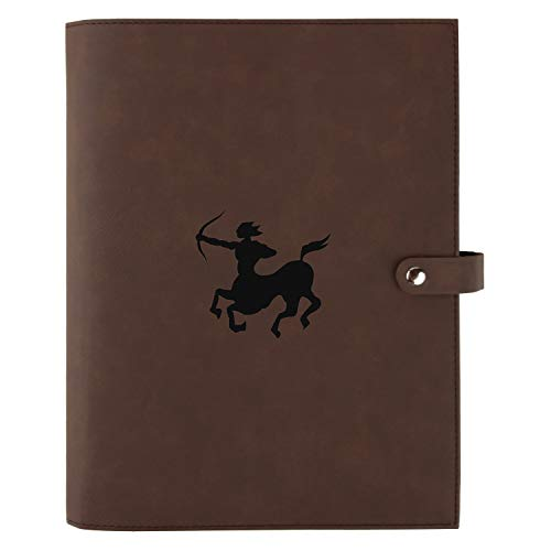 Sagittarius Engraved Leather Protective Bible, Book & Planner Cover with Snap Closure