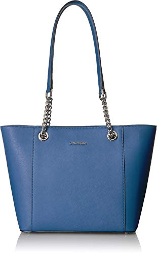 Calvin Klein Hayden Saffiano Leather East/West Top Zip Chain Tote, seaport by Calvin Klein (Image #1)