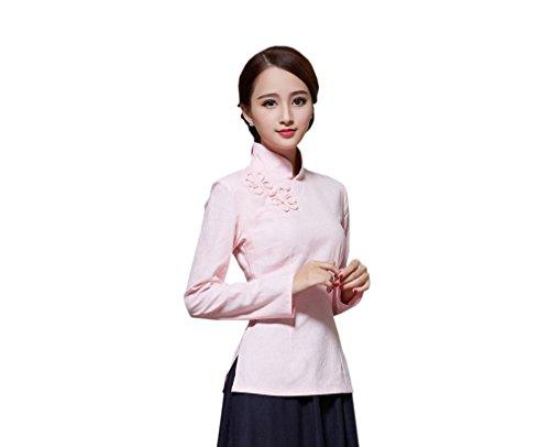 ACVIP Veste Plusieurs Tang Femme Chinoise Rose Devant Chemise Style Longue Blouse Manche Fleur de Claire Rtro Couleurs pour r6wq54prg