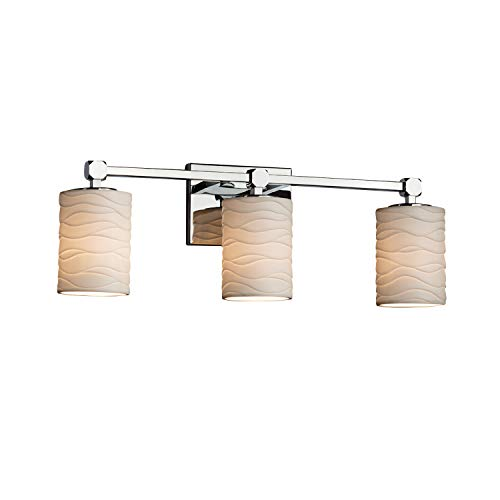 - Justice Design Group Lighting POR-8423-10-WAVE-CROM Justice Design Group - Limoges - Tetra 3-Light Bath bar - Cylinder with Flat Rim - Polished Chrome Finish with Waves Shade,