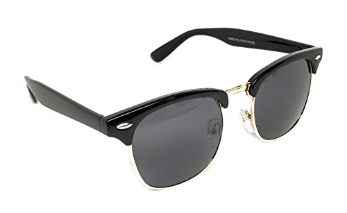 WebDeals - Vintage Classic Half Frame Horn Rimmed Browline Design Sunglasses (Black, Gold / - Sunglasses Men Browline