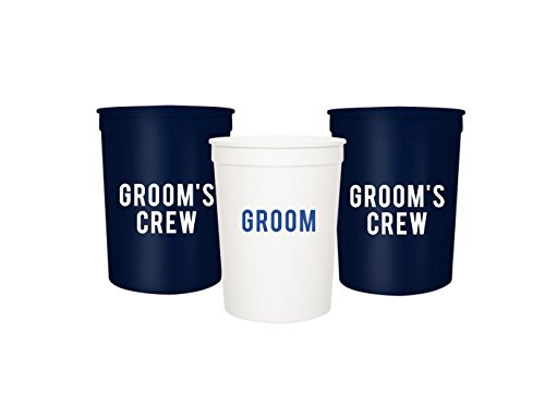 Groom and Grooms Crew Bachelor Party Cups, Set of 12 Blue and Red 16oz Stadium Cups, Buy Him A Beer The End is Near, Perfect Bachelor Party Decoration (White)