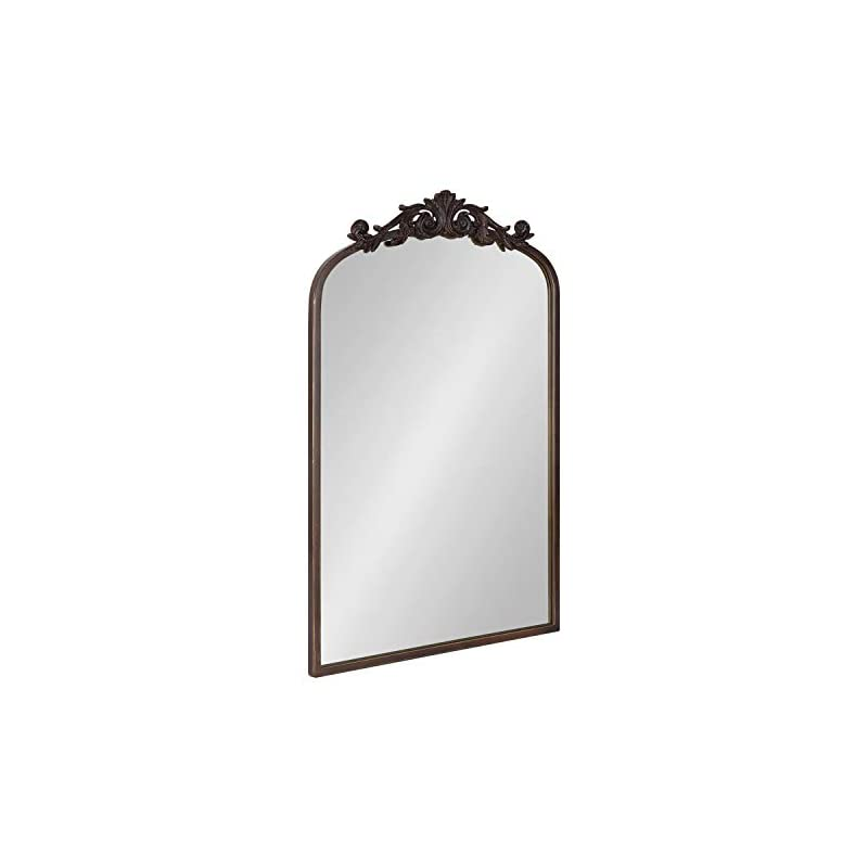 Kate and Laurel Arendahl Traditional Arch Mirror, 19 x 30.75, Antique Bronze, Baroque Inspired Wall Decor