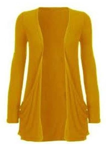 Ladies Women Boyfriend Open Cardigan Withc Pockets All Sizes (M/L (UK 12-14 US 8-10), Mustard)