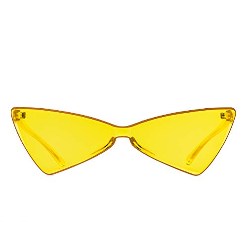 Colorful One Piece Rimless Transparent Cat Eye Sunglasses for Women Tinted Candy Colored Glasses (B025-yellow)