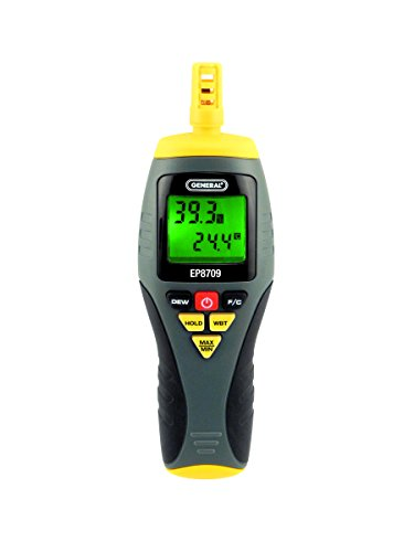 (General Tools EP8709 Calibratable Multi-Function Digital Psychrometer, Wet Bulb Capable)
