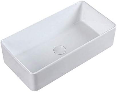 洗面ボール 洗面所バニティキャビネット用浴室長方形セラミックホワイト容器シンク 洗面器 (Color : White, Size : 37.5x24x12.5cm)