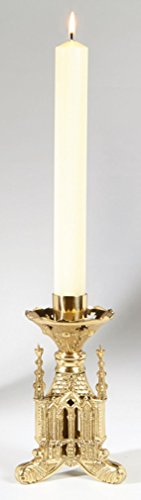 - San Pietro Collection Polished Brass Altar Candlestick, 8 Inch