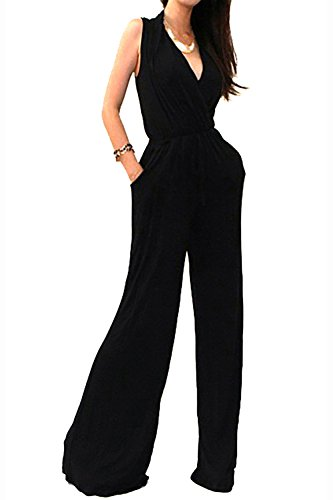 Vivicastle Women's Sexy Wrap Top Wide Leg Long Sleeve Cocktail Knit Jumpsuit (Large, Black-Sleeveless)
