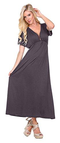 Stanzino Women's V neck Short Sleeve Elastic Waist Maxi Dress – Small, Gray