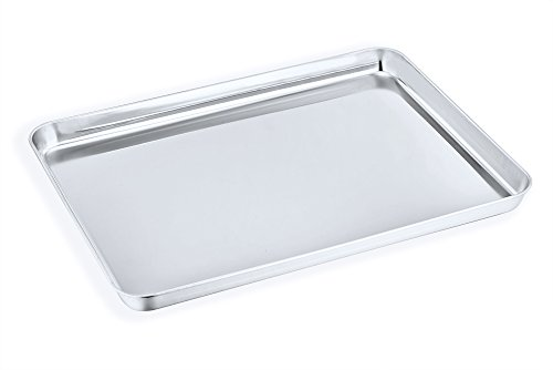 Stainless Steel Steel Cookie Sheet - Large Baking Sheet, P&P Chef Stainless Steel Cookie Sheet Baking Pan Tray, Rectangle 16''x12''x1'', Healthy & Non Toxic, Mirror Finish & Dishwasher Safe
