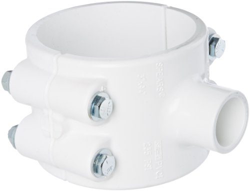 Spears 466 Series PVC Clamp-On Saddle with Buna O-Ring, Zink Bolt, Schedule 40, White, 4