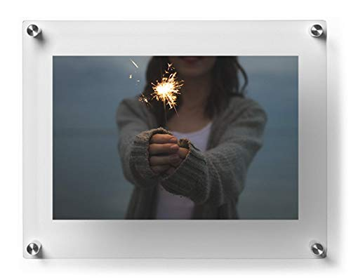 Wexel Art 12x15-Inch Double Panel Grade Acrylic Floating Frame with Silver Hardware for for, 8x10-Inch Art & Photos ()