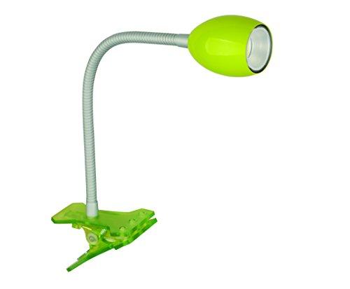 Jedi Lighting Warmton-LED, Clip-Light/Klemmleuchte mit biegbarem Schwanenhals Flexarm. Mit 230V Netzzuleitung. Grün. 100 lm.