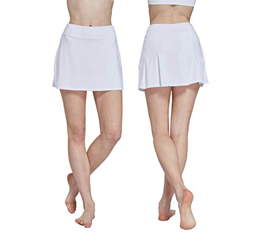 HonourSport Women's Club Pleated Golf Skorts Casual Running Skirt with Underneath Shorts White XL