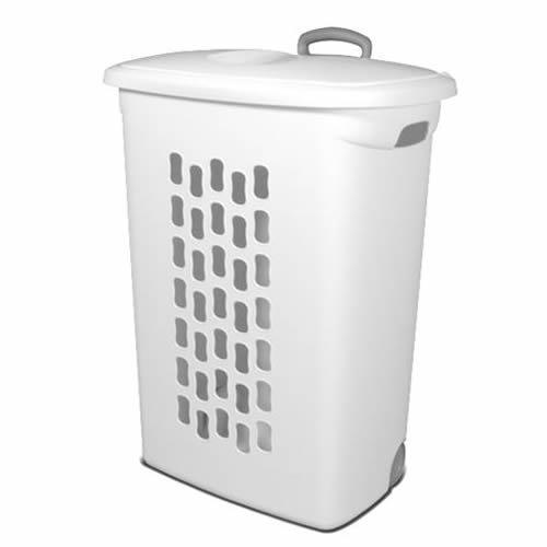 """(1 Hamper) Sterilite White Ultra Wheeled Hamper - 21"""" L x 13-3/4"""" W x 28-3/8"""" H"""