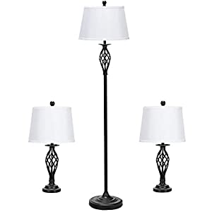 DescriptionOur Tangkula 3-piece lamp set includes two matching table lamps and one floor lamp. Constructed by antique bronze finish base, metal construction and white fabric shade. Each lamp uses one maximum 60 watt standard-medium base bulb (not inc...