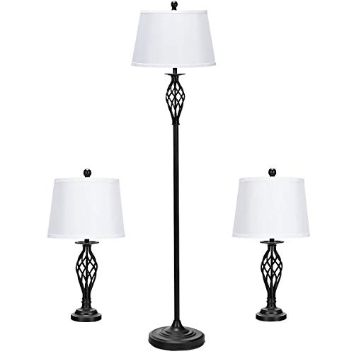 (Tangkula Lamp Set 3-Piece Modern Home Living Room Bedroom Antique Bronze Finish Lamps, Floor Lamp and Table Lamps Set with Soft Pleated White Fabric Shades (Antique Bronze))