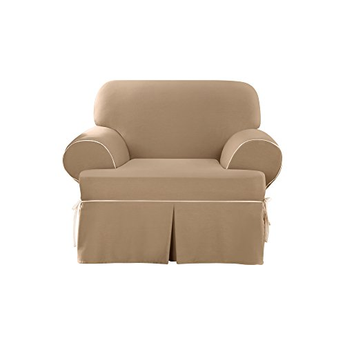 Duck Chair Slipcover Box Seat - Sure Fit Cotton Duck - Chair Slipcover  - Cocoa/Natural (SF40810)