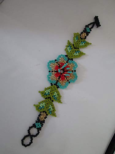 - blue turquoise red gold Hand beaded mexican huichol style folk art sunflower 3D flower design glass seed beads fair trade bead work statement bracelet