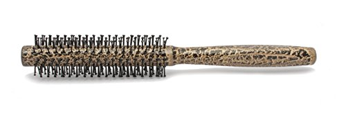 MV&K 30mm (1.2 inches) Cobra Pattern Wood Handle Metal Bristles Round Styling Brush for Straight or Curl Hairbrush