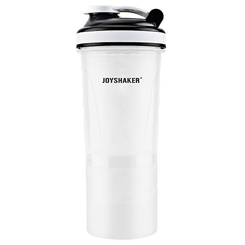 JOYSHAKER BPA Free Sports Gym Water Bottle with Storage Food Grade Safe Plastic Protein Shaker Bottle Leak Proof Reusable Insulated Sports Drinking Bottle for Adults Fitness FDA 26 oz (White)