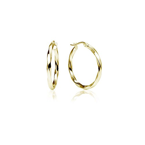 LOVVE Yellow Gold Flashed Sterling Silver High Polished Twist Round Click-Top Hoop Earrings, 2x25mm