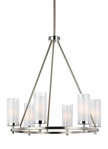 (Feiss F2985/6SN/CH Jonah Glass Chandelier Lighting with Shades, Satin Nickel, 6-Light (25