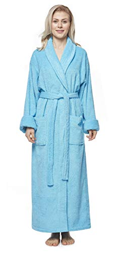 Arus Women's Optimal Style Full Length Thick Shawl Collar Turkish Bathrobe Bright Blue X-Large