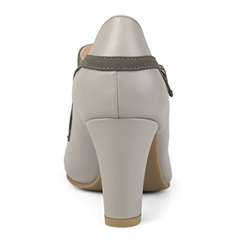 Journee Collection Bout Rond Femme Vintage Semelle Confort Bicolore Mary Jane Pumps Gris
