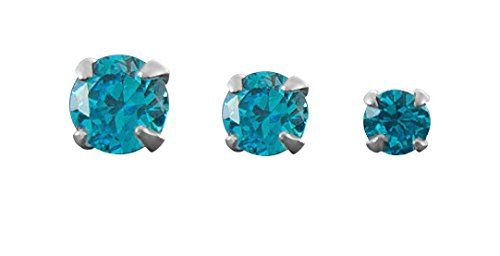 Set of 3 Turquoise Color Triple Forward Helix Jewelry Labret Studs-18 gauge 7mm-Flat Back Cartilage Earrings-Lip Ring (Flat Triple)