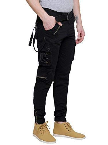 United Jeans Mens Blue Dori Style Relaxed Fit Cotton Cargo Jogger Jeans Pants
