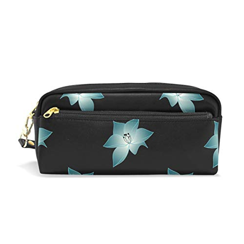 - MONTOJ Fancy Light Blue Flowers Pen Pencil Holder Pen case