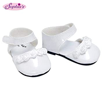0976176f99fcd 18 Inch Doll Dress Shoes fit for American Girl Dolls in White Patent  Leather and Satin Rose Ribbon Trim, White Doll Dress Shoes