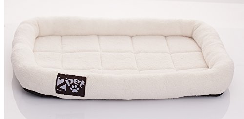[2PET Cushy Soft Fleece Pet Bed–All-Season Crate Pad for Your Pet's Comfort–Double Fleece Filling for Better Cushioning–Waterproof,Easy to Clean–Sturdy Border for Head Support Medium 24