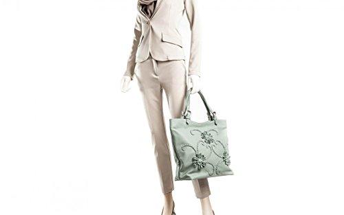 Giglio - Passione Bags - Borsa da donna in vera pelle a spalla color verde cielo con fiori ricamati a mano - Made in Italy