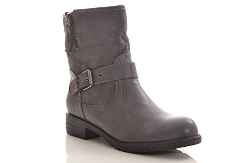 Winterstiefel Damen Stiefel Stiefelette warm gefüttert hochwertige Lederoptik Boots 520-PA Grau