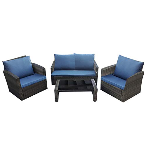 Panana Rattan Patio Furniture Set 4 Pieces Wicker Garden Table and Chairs Sofa Conversation Outdoor Mixed Grey Wicker with Dark Grey Cushions