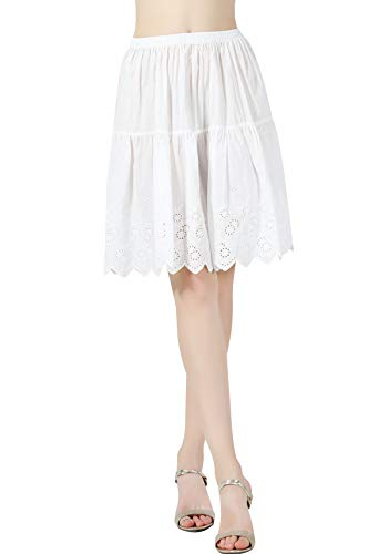 (BEAUTELICATE Half Slip Skirt Extender 100% Cotton Vintage Underskirt with Lace Embroidery Ivory Size S M L)