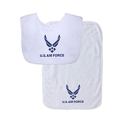 U.S Air Force Cotton Boys-Girls Baby Bib & Burb Set Gingham Trim - White, One Size ()