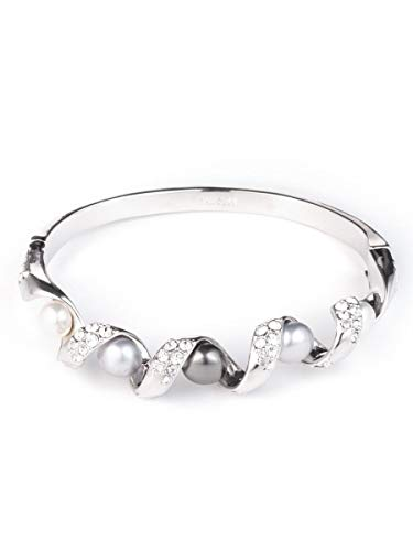 (Carolee Women's Pearl Hinged Bracelet with Pearl Coil, Silver/Gray)