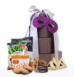 Gluten Free Palace Purim Mishloach Manot, Purim Baskets, Gluten Free Kosher Food Gifts, Jewish Holiday Gifts, Large Gift Tower, 3 x Brown Gift Boxes