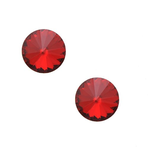 Spinning Studs Jewelry (Round Glass Crystal Stud Earrings (Red))