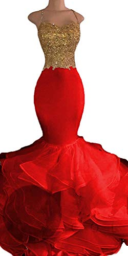 Fanciest Embroidery 2019 Lace Prom Dresses Mermaid Long Evening Gowns Red 2 - Dresses Red Mermaid Long Prom