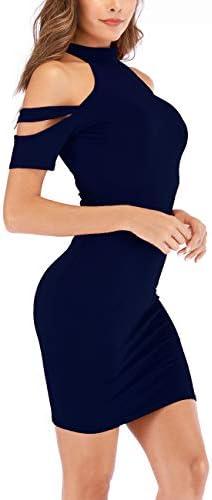 Haola Women's Fashion Cold Shoulder Strappy Short Sleeve Party Bodycon Midi Dresses
