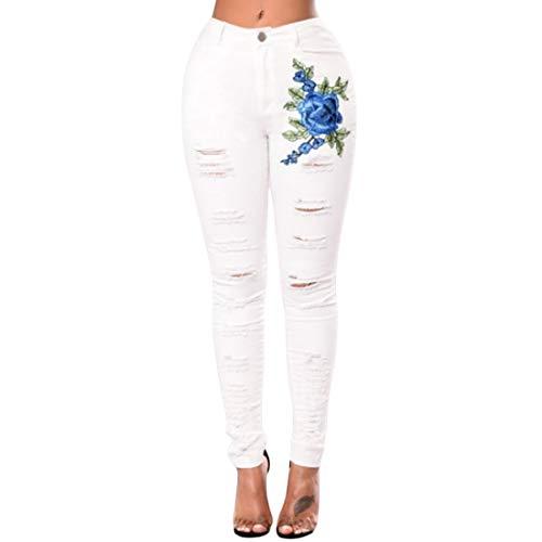 Jeans serr Skinny Haute fminine Taille Mode brod Inlefen Denim rtro Occasionnels dchir Pantalons Blanc dchir Classique Poche 7ZwYTzq
