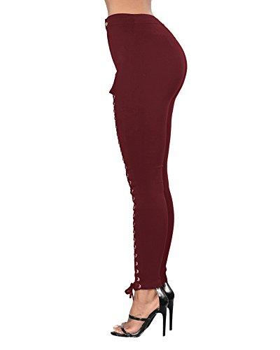 Leggings Matita Buco Strappato Nets Rosso Denim Jeans Vino Sottili Lunghi Pants Donna Stretch Pantaloni Distressed qIZn8