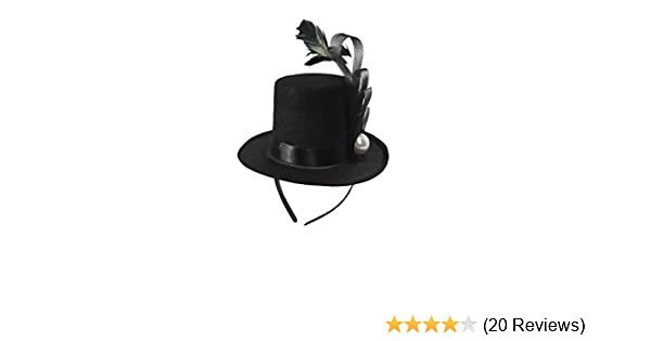 cc47762b Amazon.com: Black Mini Top Hat Fascinator On Headband Feather Pearl Stud  Dancers Showgirl: Clothing